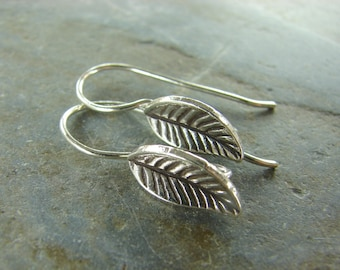 Leaf Ear Wires - Hill Tribe Fine Silver - Thai Fine Silver Ear Wires - ewhtl