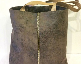Vegan Suede Tote Bag in Stone Grey with Bronze Chain Trim, Large