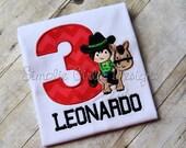 Custom cowboy on horse birthday shirt. Sizes 12m to youth medium. Other sizes and fabrics available.