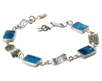 Blue Rectangle Roman Glass Bracelet, Boho Chic Silver Bracelet, Roman Glass Floral Bracelet, Small Roman Glass Bracelet, Israel Jewelry