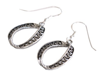 Handmade Retro Loop Earrings, Sterling Silver Bold Earrings, Unique Designer Women Earrings, Israel Jewelry, Oxidized Silver Dangle Earrings