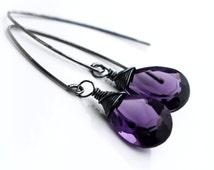 Amethyst Silver Earrings, Oxidized Sterling Silver Amethyst Earrings, February Birthstone Earrings, Long Silver Amethyst Dangle Earrings