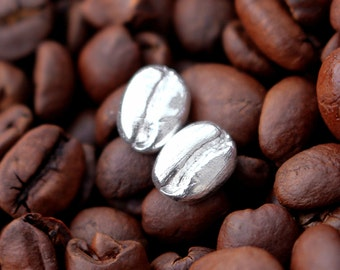 Sterling Silver Coffee Bean Stud , Brushed Matt Silver Coffee Earrings, Ecofriendly Coffee Studs, Recycled Silver, Coffee Lover Gift