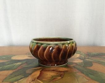 Small Brown Planter Bowl Vintage Green Rim Succulent Plant Dish