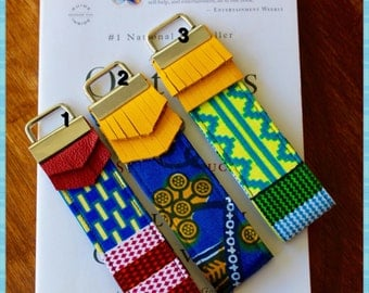 African Print Key Fob, Wristlet Key Fob, Keychain, Bridesmaids Gifts - Choose your design. This listing is for one key fob.