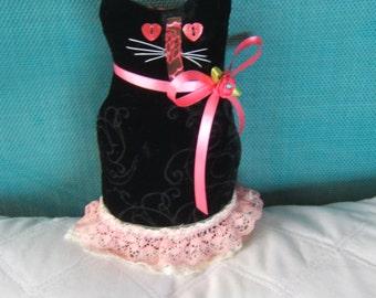 Cat, Kitten, Cloth Doll, OOAK, Valentines Day, Velvet, Winter