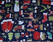 Fat Quarter Christmas Fun Whimsical Christmas Items on Navy Background Metallic Outlines