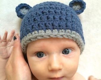Baby bear hat, size 0-3 months, newborn, baby shower gift