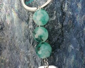 ON SALE Dreaming of the Sea, Gemstone KeyChain, Spotted Green Quartz Keychain, Nautical Keychain