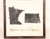 "Hand Painted Wood Sign - State Silhouettes... 13""x13"" - home sweet home - minnesota - north dakota - Home - Custom States - Home Decor"
