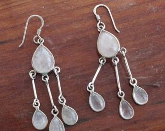 "Long Dangle Sterling Silver Chandelier Earrings with Rose Quartz  2.25"" Long"