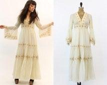 70s Dress Lace Corset XS / 1970s Vintage Trumpet Sleeve Maxi Dress / Picfair Village Dress