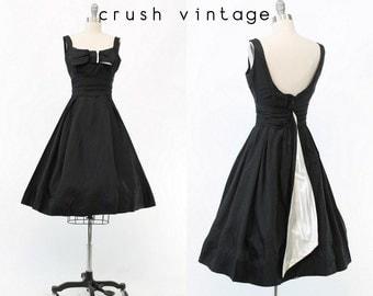 50s Black + White Dress XS / 1950s Vintage Full Skirt Party Dress / Tonight is the Night Dress