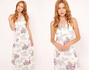 ON SALE Vintage 70s FLORAL Maxi Dress Ivory Art Nouveau Floral Print Boho Dress  Halter Dress Sun Dress