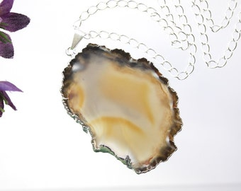 Brown Agate Necklace, Agate Pendant, Silver Agate, Transparent Agate Slice, Boho Jewelry, Layering Necklace, APS41