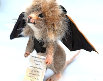 Through the Looking Glass Mad Hatters Twinkle Twinkle Little Bat Mouse OOAK Needle felted Artist Character Doll