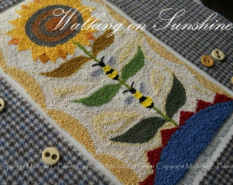 Walking on Sunshine Punch Needle Embroidery DIGITAL Jpeg and PDF PATTERN Michelle Palmer Painting with Threads