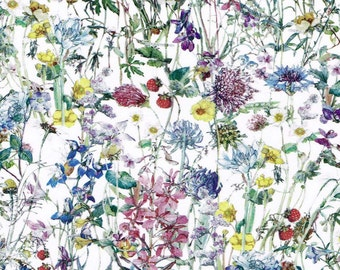 Liberty Tana Lawn Fabric Wild Flowers A Flora Illustrations White Detail
