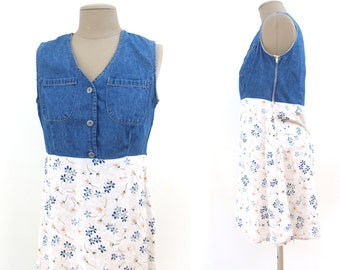 Vintage Denim and Floral Mini Dress Size Small // 1990s S preppy blue jean and rayon skirt