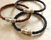 Sterling and Leather Bracelet for Men and Women / Mens Bracelets / Mens Gifts / Skye Premium
