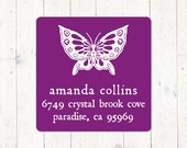 personalized return address LABEL - BUTTERFLY - sticker - square label - set of 48 address labels