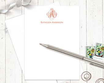 personalized note card set - LOVELY SCROLL MONOGRAM - set of 12 flat note cards - monogrammed stationery - stationary