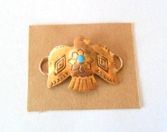 Artisan Southwest Concho Bird Vintage Brass Bracelet Link Finding