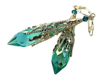Aqua Blue Icicle Crystal Silver-tone Filigree Pendant Earrings, Neo Victorian Gothic Crystal Earrings