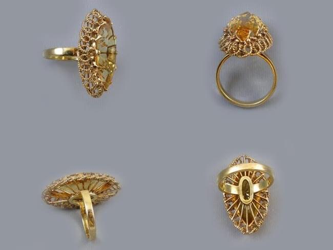 MASSIVE vintage 18k gold marquise cut navette 7.42 carat citrine quartz statement cocktail ring, size 7