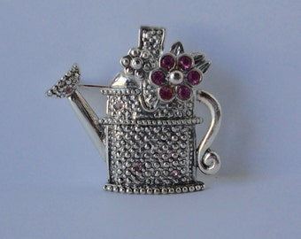 Vintage AAi Silver tone with Pink Rhinestones Watering Can Brooch/Pin.
