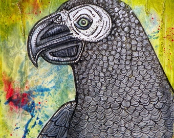 Original African Grey Parrot Miniature Painting by Lynnette Shelley