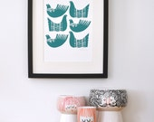 Bird Shapes in Dark Teal - Open Edition Giclee Print