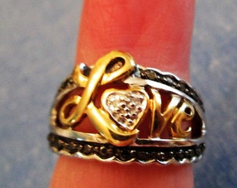 RING - LOVE - Two tone -   - Estate Sale  - 925 - Sterling Silver  Size 6  misc406