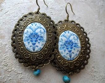 Portugal  Blue Antique Tile Replica Earrings from Viuva Lamego Factory, Lisbon - Founded in 1849 and Mafra 2 - SIDED Majolica Ceramic