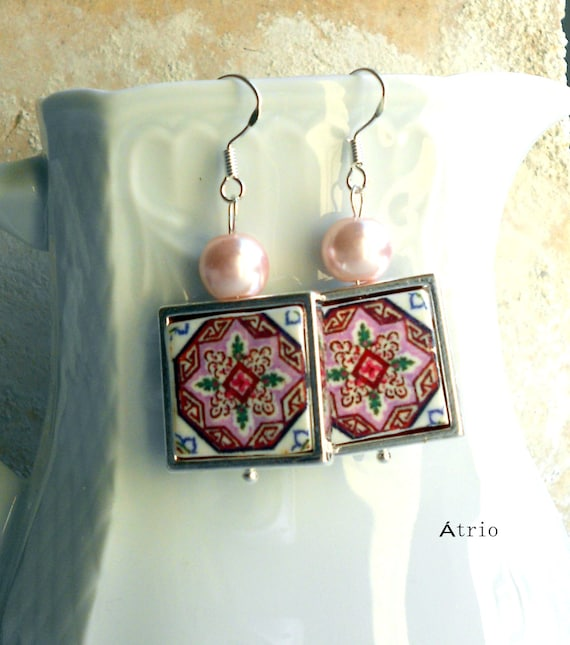 Portugal Antique Azulejo Pink Tile Replica 925 SILVER FRAMED Earrings  ESMORIZ  (see photo Abandoned Home) Waterproof reversible 389 Silver