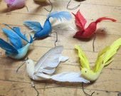 Lot of 26 Vintage Feathered Birds White Blue Red Yellow Pink 1960s Made in Taiwan tag