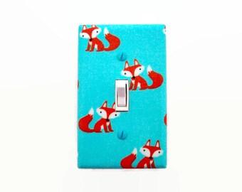 Fox Light Switch Cover - Woodland Switch Plate Cover - Aqua and Orange Fox Nursery Decor - Boys Girls Nursery - Woodland Nursery Aqua Orange