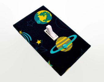 Space Light Switch Cover - Planets Switch Plate - Saturn Earth Switch Plate Cover - Childrens Room Decor - Saturn Space Bedroom - Boys Room