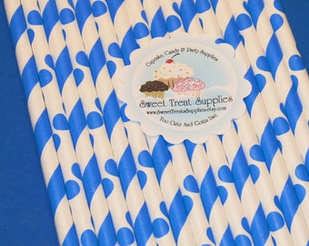 NEW - Sailor Blue Striped & Dot Straw Collection  (Qty 24)  DIY Flag Topper - Blue Straws, Blue Striped Straws, Blue Dot Straws, Paper Straw