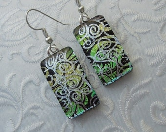 Dichroic Fused Glass Earrings - Glass Earrings - Dichroic Earrings - Dichroic Jewelry - Cute Earrings - Green Earrings X7582