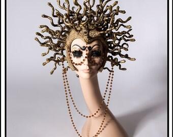 Medusa… Snake Headdress is Aged Gold