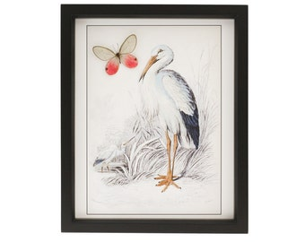 Stork Baby Gift with Real Butterfly Framed Nursery Decoration