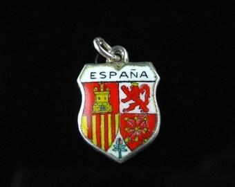 Charm, 800 Silver, Espana, Enamel, Coat Of Arms, Travel Shield, Spain, Castle, Lion