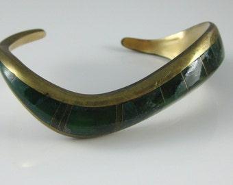 Cuff Bracelet, Vintage Costume Jewelry, Green Inlaid Stone, Brass Bracelet, Modernist Cuff Bracelet, Signed Dorrh S