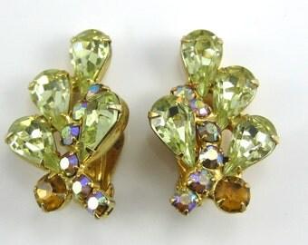 Clip on Earrings, Costume Jewelry, Vintage Yellow Rhinestones, Large Earrings