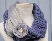 Scarves,purple scarves,knit scarf, Cowl Scarf, Fabric whit yarn, winter - fall women accessories, chunky infinity cowl scarve