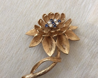 Vintage 14k Yellow Gold Sapphire and Diamond Flower Pin