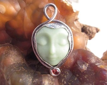 Silver and Glass Celadon Green Goddess And Sapphire Silver Pendant OOAK 999 FS by Leaping Frog Designs