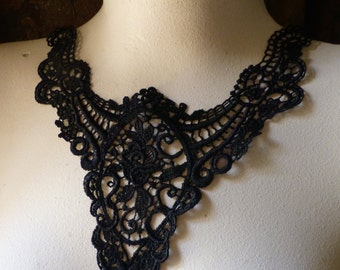 Black Lace Applique for Garments, Costumes, Lace Necklaces  BLA 376