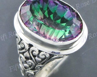 Magnificent 20ct 22mm Rainbow Mystic Topaz 925 Sterling Silver Us 8 Ring